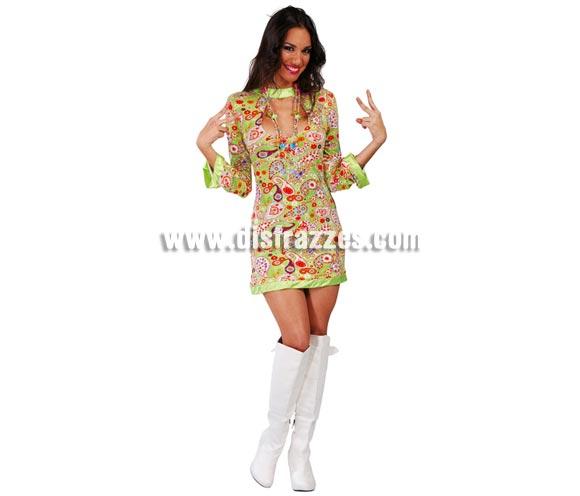 Disfraz o vestido barato de Hippy para mujer. Talla única válida hasta la 42/44. Incluye vestido.