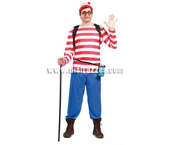 Disfraz de Escursionista para hombre. Talla universal 52/54. Incluye gorro, camiseta y pantalón. Las gafas las podrás ver en Comlementos. Si te disfrazas así todos preguntarán -¿Dónde está Wally?