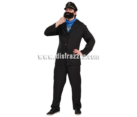 Disfraz Lobo de Mar, Brutus  o Capitán Haddock para hombre. Talla universal 52/54. Incluye gorra, chaqueta, camisa y pantalón. Barba NO incluida, podrás verla en la sección de Complementos con la ref. 261-NE-SR. Éste personaje es el mejor amigo de Tintín, el famoso reportero.