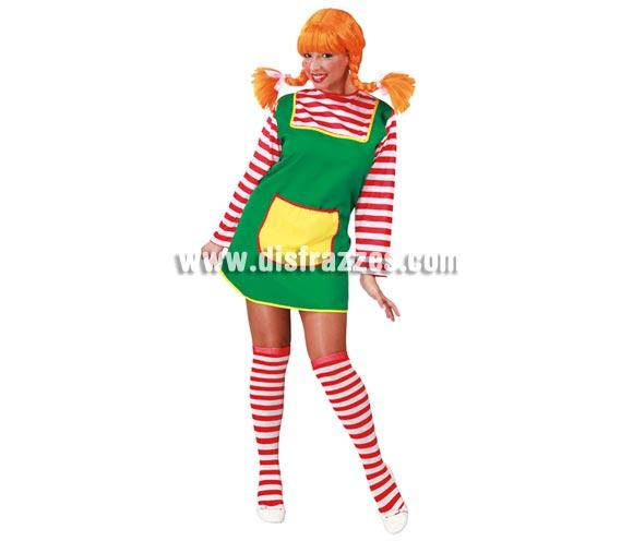 Disfraz de Pipi Calzaslargas o Pipi Langstrum para mujer. Talla standar válida hasta la 42/44. Incluye sólo el vestido. Podrás ver la peluca y las medias en nuestra sección de Complementos.