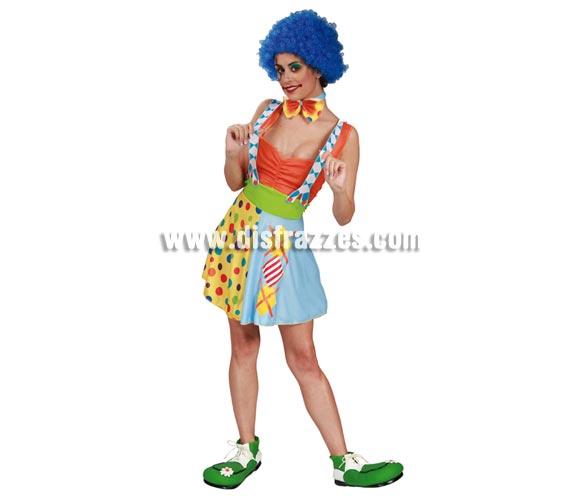 Disfraz de Payaso para mujer. Talla única válida hasta la 42/44. Incluye vestido, pajarita y tirantes. Peluca y zapatones NO incluidos, podrás verlos en la sección de Complementos.