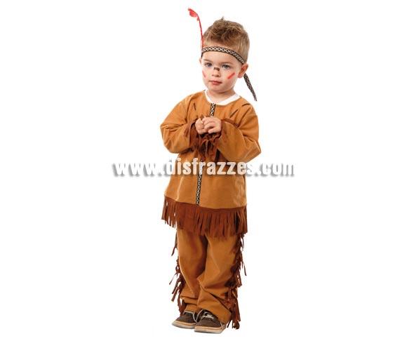 Disfraz barato de Indio Baby para niños. Talla de 1 a 12 meses. Incluye camisa, pantalón y cinta de la cabeza. Perfecto para jugar a Pistoleros e Indios.