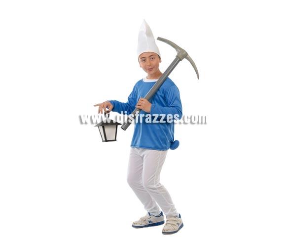 Disfraz de Enanito Azul para niños de 7 a 9 años. Incluye gorro, camiseta y pantalón. Ahora que están de moda Los Pitufos, puedes disfrazar a tu hijo con éste disfraz.