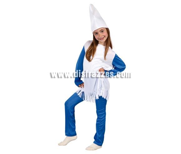 Disfraz de Enanita Azul para niñas de 7 a 9 años. Incluye gorro, camiseta y pantalón. Ahora que están de moda Los Pitufos, puedes disfrazar a tu hija con éste disfraz.