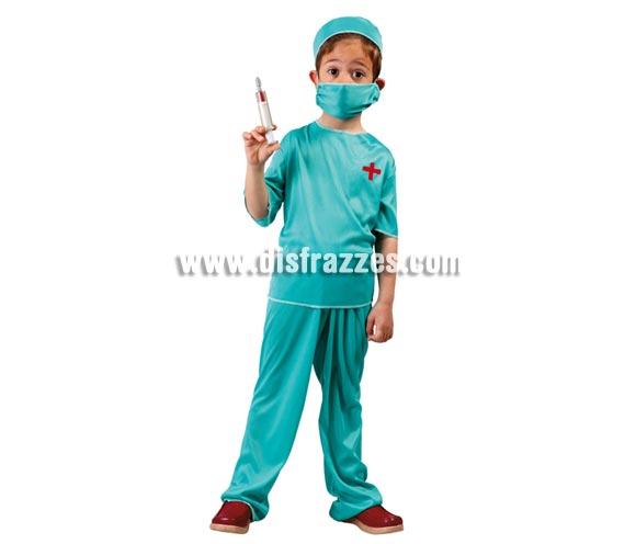 Disfraz de Médico Cirujano para niños de 7 a 9 años. Incluye gorro, mascarilla, camiseta y pantalón.