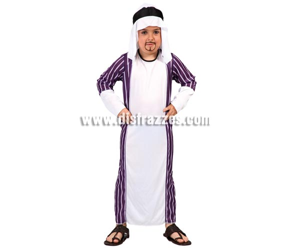 Disfraz de Jeque Árabe para niños de 7 a 9 años. Incluye túnica y tocado.