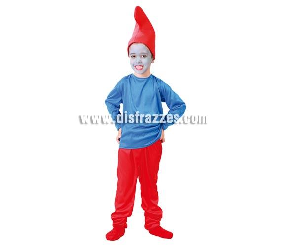 Disfraz barato de Enanito rojo para niños de 4 a 6 años. Incluye gorro, camiseta y pantalón. Con éste disfraz tu hijo podrá jugara ser Papa Pitufo, e imaginar que está en Pitufilandia. Qué divertido, jejeje.