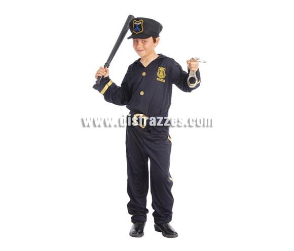Disfraz de Policía infantil. Talla de 10 a 12 años. Incluye gorra, camisa, cinturón y pantalón. Porra y esposas NO incluidas, podrás verlas en la sección Complementos.