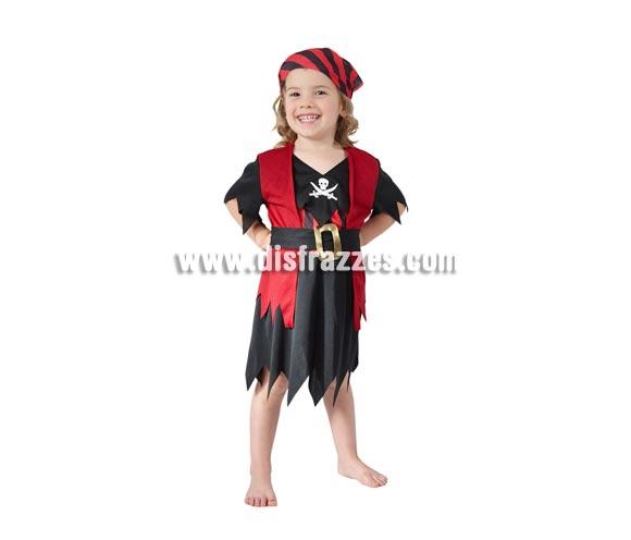 Disfraz barato de Pirata para niñas de 1 a 2 años. Inlcluye camisa con chaleco, falda, cinturón y pañuelo de la cabeza.
