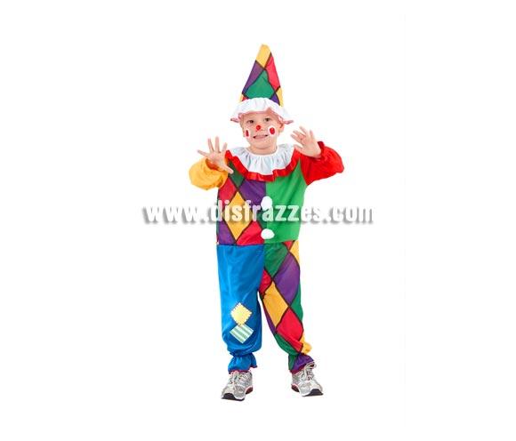 Disfraz barato de Payasete o Payaso infantil para Carnaval. Talla de 1 a 2 años. Incluye mono y gorro.