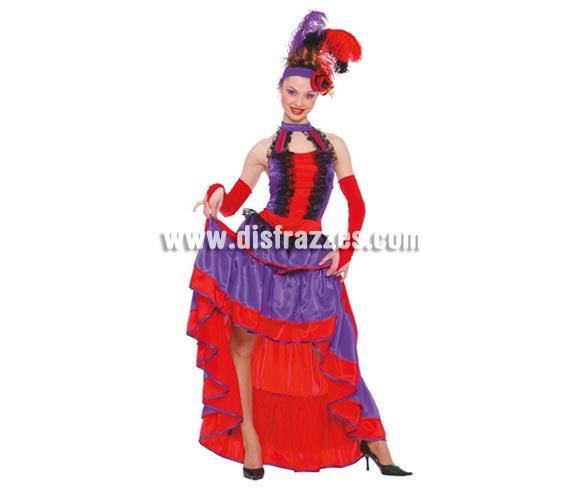 Disfraz de Can Can mujer adulta. Talla única válida hasta la 42/44. Incluye diadema, vestido y mangas. Disfraz de Can-Can para mujer.