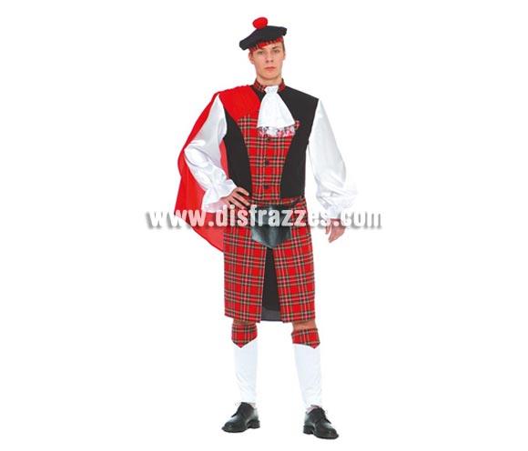 Disfraz de Escocés adulto para Carnavales. Talla única 52/54. Incluye gorro, camisa, bolso, falda y polainas. Si te compras éste disfraz, ¡ponte calzoncillos, eh? jajajaja!!!
