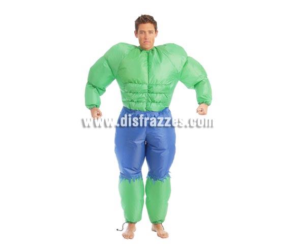 Disfraz de La Masa o Hulk hinchable para hombre. Talla Universal 52/54. Incluye traje hinchable que funciona con pilas.