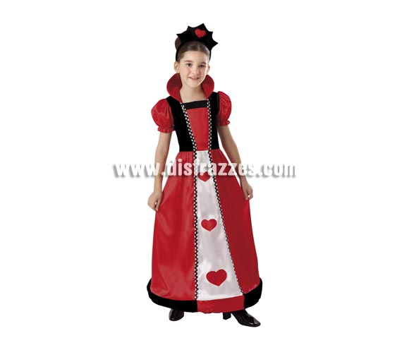 Disfraz de Reina de Corazones infantil para Carnaval. Talla de 10 a 12 años. Incluye vestido, cuello y tocado o diadema.  ¡¡Compra tu disfraz para Carnaval en nuestra tienda de disfraces, será divertido!!