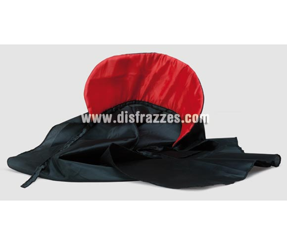 Capa de tela negra con cuello rojo mediana 90 cm.