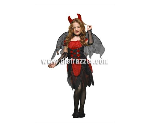 Disfraz de Diablilla o Diablesa con alas rojas infantil para Halloween barato. Talla de 5 a 6 años. Incluye vestido, guantes, alas, gargantilla y tocado (cuernos). Tridente NO incluido, podrás verlo en la sección Complementos.