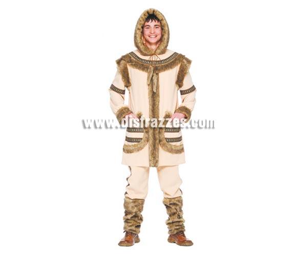 Disfraz de Esquimal hombre adulto. Talla única 52/54. Incluye capucha, casaca, pantalón y calentadores. Un disfraz ideal para ir calentito en los sitios donde haga más frío en Carnaval.