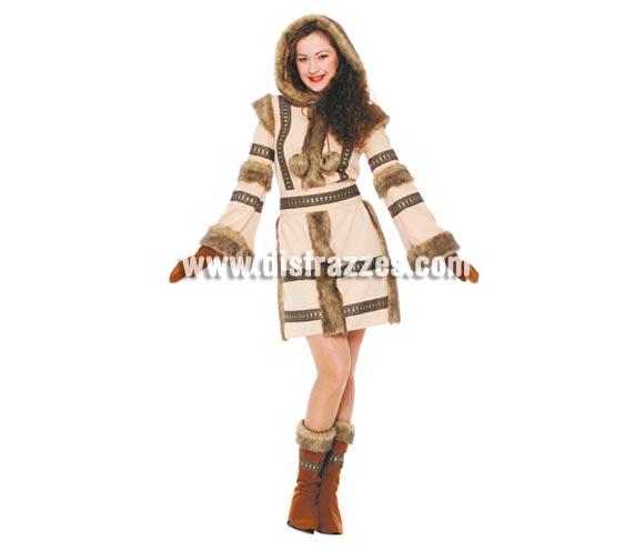 Disfraz de Esquimal mujer adulta. Talla única válida hasta la 42/44. Incluye capucha, vestido, cinturón y polainas. Un disfraz muy calentito perfecto para los lugares donde haga más frío en Carnaval.