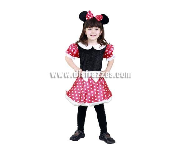 Disfraz barato de Ratoncita para niñas de 5 a 6 años. Incluye vestido y tocado. Con éste disfraz tu niña soñará con ser Minnie y podrá jugar desarrollando toda su imaginación.