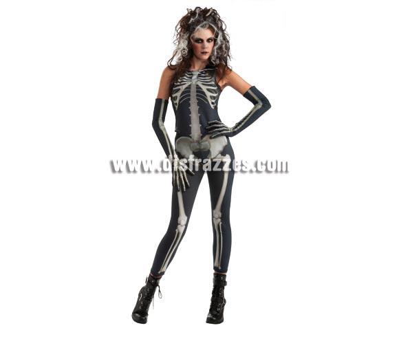 Disfraz de Ms. Bones para mujer en Halloween. Talla Standar. Incluye jumpsuit o mono negro y guantes con huesos.