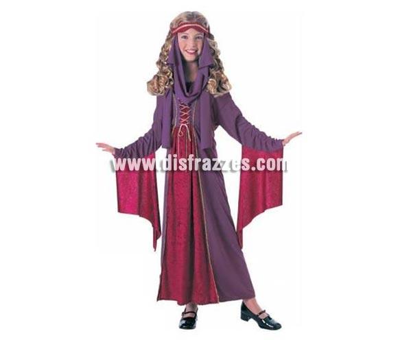 Disfraz de Princesa Gótica Medieval para niñas de 5 a 7 años. Incluye vestido y tocado. Traje ideal para Ferias Medievales.