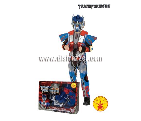 Disfraz de Transformers Optimus Prime infantil para Carnaval o para regalar en Navidad. Talla de 3 a 4 años. Incluye mono con pecho de eva y máscara. Presentación en caja para regalo.
