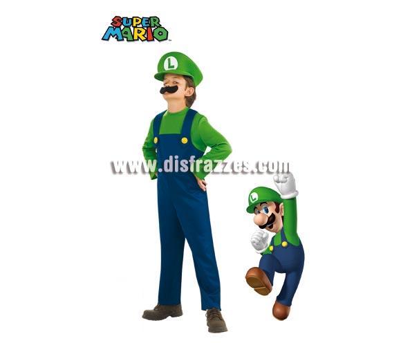 Disfraz de Luigi (el compañero de Mario Bros) para niños de 8 a 10 años. Incluye jumpsuit o mono, sombrero y bigote.