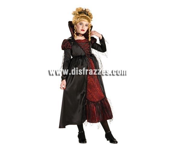 Disfraz Vampiresa de Transilvania para niñas de 8 a 10 años. Incluye vestido con petticoat, gargantilla y tiara.