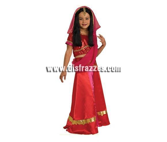 Disfraz de Princesa Bollybood para niñas de 5 a 7 años. Incluye top, falda y tocado con velo. Disfraz de India Hindú.