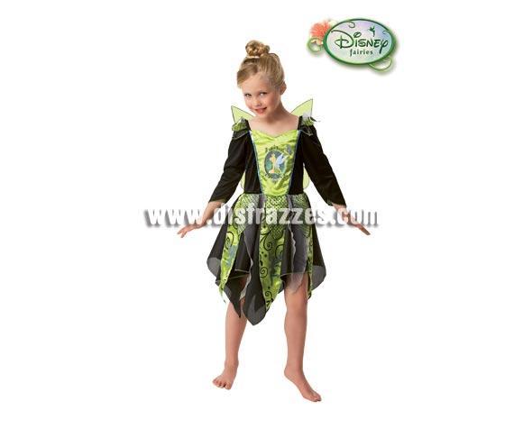 Disfraz de Campanilla para niñas de 5 a 7 años. Disfraz con licencia Disney perfecto para la noche de Halloween. Incluye vestido con alas.