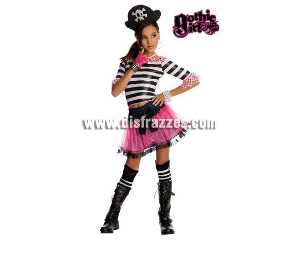Disfraz de Dark Rose para niñas de 5 a 7 años GOTHIC GIRLS. Incluye top, falda, sombrero y medias. Éste disfraz es muy original y más ahora que tanto están de moda las Monster High.