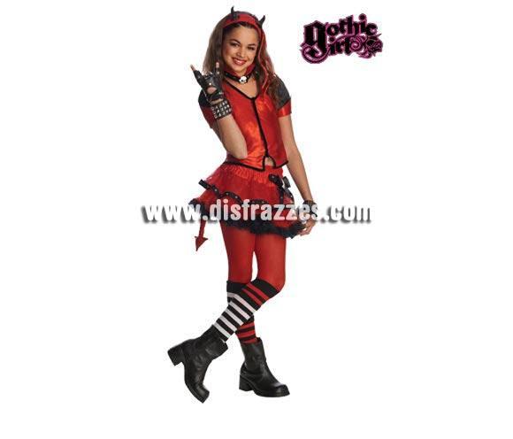 Disfraz de Helzebet para niñas de 5 a 7 años GOTHIC GIRLS. Incluye top, falda y tocado con cuernos. Perfecto también para regalar en Navidad.  Éste disfraz es muy original y más ahora que tanto están de moda las Monster High.