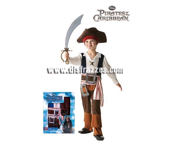 Disfraz de Jack Sparrow de Piratas del Caribe en caja para niños de 3 a 4 años. Incluye disfraz y bandana con pelo. Perfecto como regalo en Navidad, Reyes y en cualquier ocasión del año, seguro que al niño le encanta. Presentación en caja regalo.