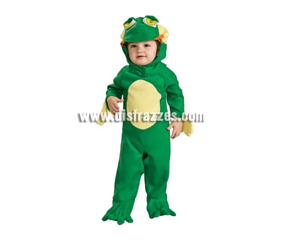 Disfraz de Ranita para bebés de 6 a 12 meses. Incluye traje completo con gorro. Si te fijas también lleva manoplas para las manos y van unidas al mono para que el niño no las pierda.