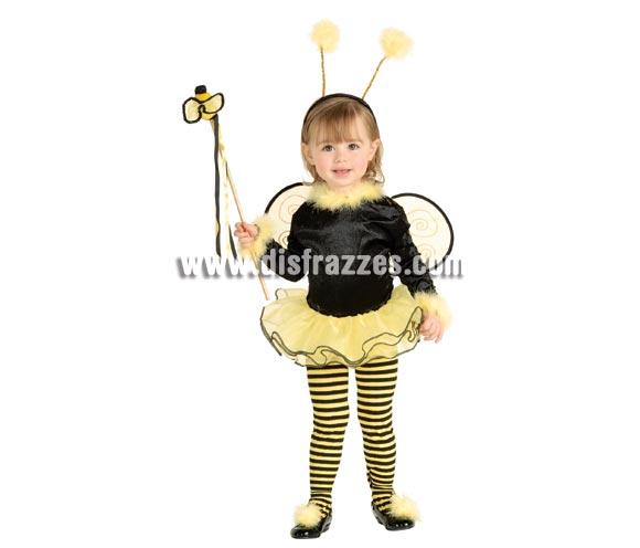 Disfraz de Abeja o Abejita para niñas de 3 a 4 años. Incluye maillot negro con tutú, alitas y tocado para la cabeza. Disfraz de Bumble Bee. Medias de rayas NO incluidas.