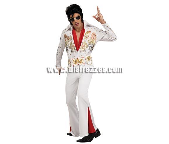 Disfraz de Elvis Presley lujo para hombre talla XL. Incluye traje completo, cinturón y bufanda.