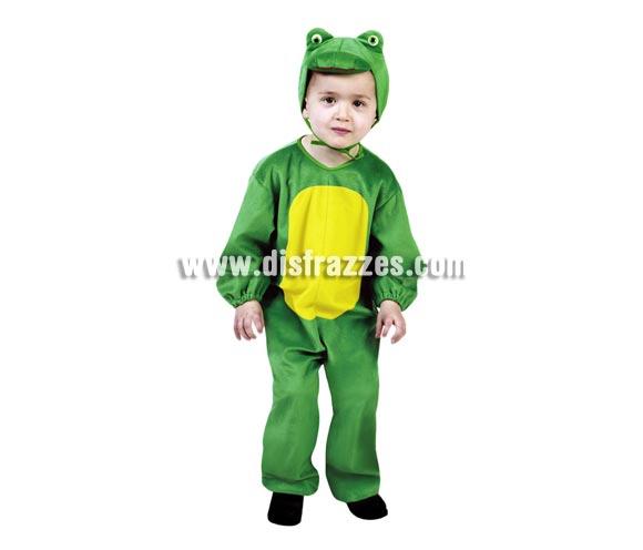 Disfraz barato de Rana infantil para Carnaval. Talla de 1 a 2 años. Incluye mono  y gorro.