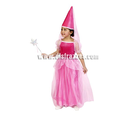 Disfraz de Hada Rosa infantil. Talla de 5 a 6 años. Incluye sombrero y vestido. Disfraz de Princesa Rosa para niña.
