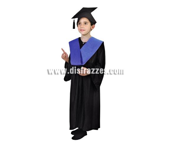 Disfraz Licenciado o Graduado niños de 3 a 4 años. Incluye sombrero, toga y beca.