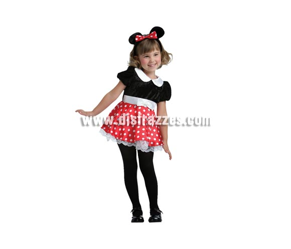 Disfraz de Ratita Mimie talla de 3 a 4 años. Para jugar a ser Minnie. Incluye vestido y diadema con orejas.
