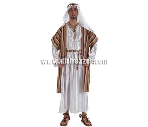 Disfraz de Hebreo para hombre. Talla Standar de hombre. Contiene túnica, chaleco, cinturón, tocado y cinta de la cabeza. También sirve como disfraz de Árabe.