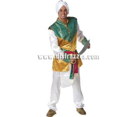 Disfraz de Hindú para hombre. Talla standar de hombre. Incluye pantalón, casaca, cinturón y turbante. Espada NBO incluida, podrás verla en Complementos. Disfraz que también puede valer para Paje Real de Los Reyes Magos.