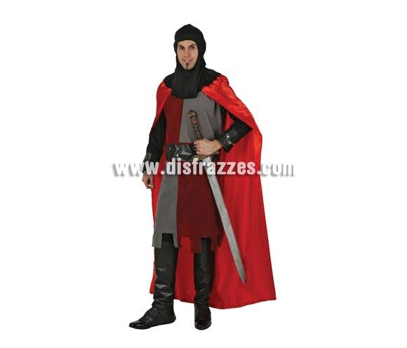 Disfraz de Caballero Medieval Rojo para hombre. Talla 2 ó talla Standar M-L 52/54. Incluye traje completo. Espada NO incluida, podrás encontrar en nuestra sección de Complementos.