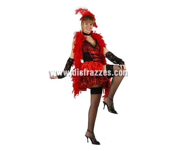 Disfraz de Cabaretera Sexy o Can-Can para mujer. Talla 2 ó talla Standar M-L 38/42. Incluye traje completo. Boa y medias NO incluidas, podrás enocntrar en nuestra sección de Complementos. Disfraz de Can Can para mujer.