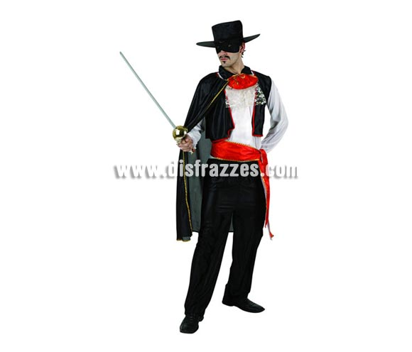 Disfraz de Enmascarado para hombre. Talla 2 ó talla standar M-L 52/54. Incluye disfraz completo. Espada NO inlcuida, podrás encontrar en nuestra sección de Complementos.