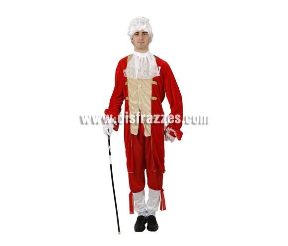 Disfraz de Rey de Época para hombre. Talla 2 ó talla Standar M-L 52/54. Incluye pantalón, chaqueta y pañuelo. Peluca, bastón y guantes NO incluidos, podrás encontrar en nuestra sección de Complementos.