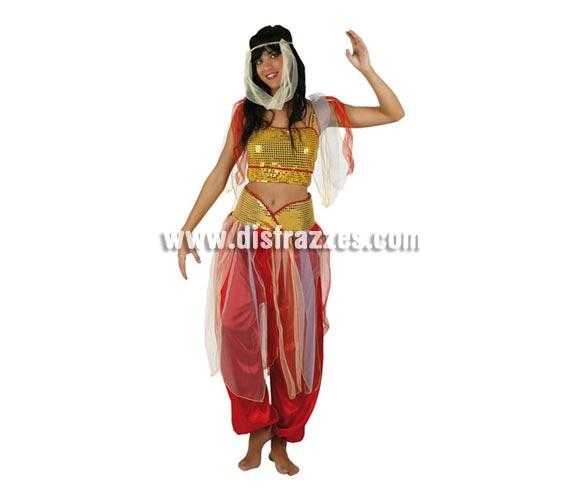 Disfraz de Princesa Árabe para mujer. Talla 2 ó talla standar M-L 38/42. Incluye disfraz completo.