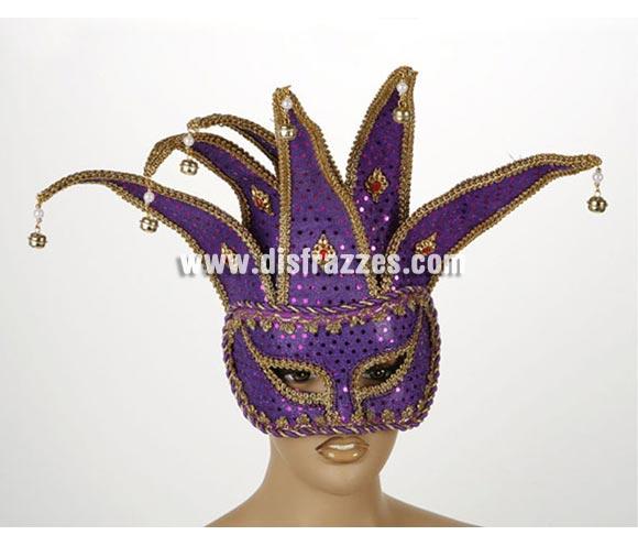 Antifaz Veneciano Arlequín con cascabeles de color Purpura. Talla Universal. Máscara Veneciana Arlequín.
