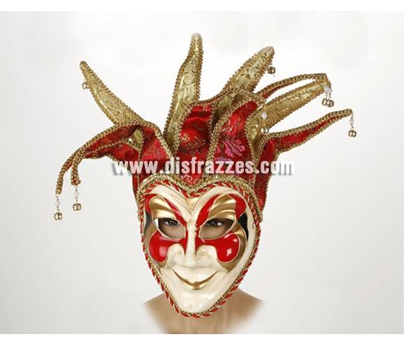 Máscara Veneciana Arlequín de color rojo y dorado. Talla Universal.