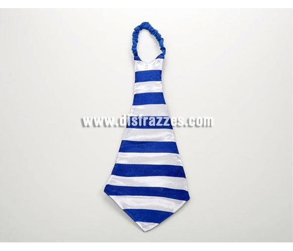 Corbata gigante rayas azul y blanca de 73 cm. Corbata de Payaso rayada.